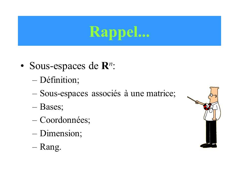 Sous-espaces de R n : –Définition; –Sous-espaces associés à une matrice; –Bases; –Coordonnées; –Dimension; –Rang.