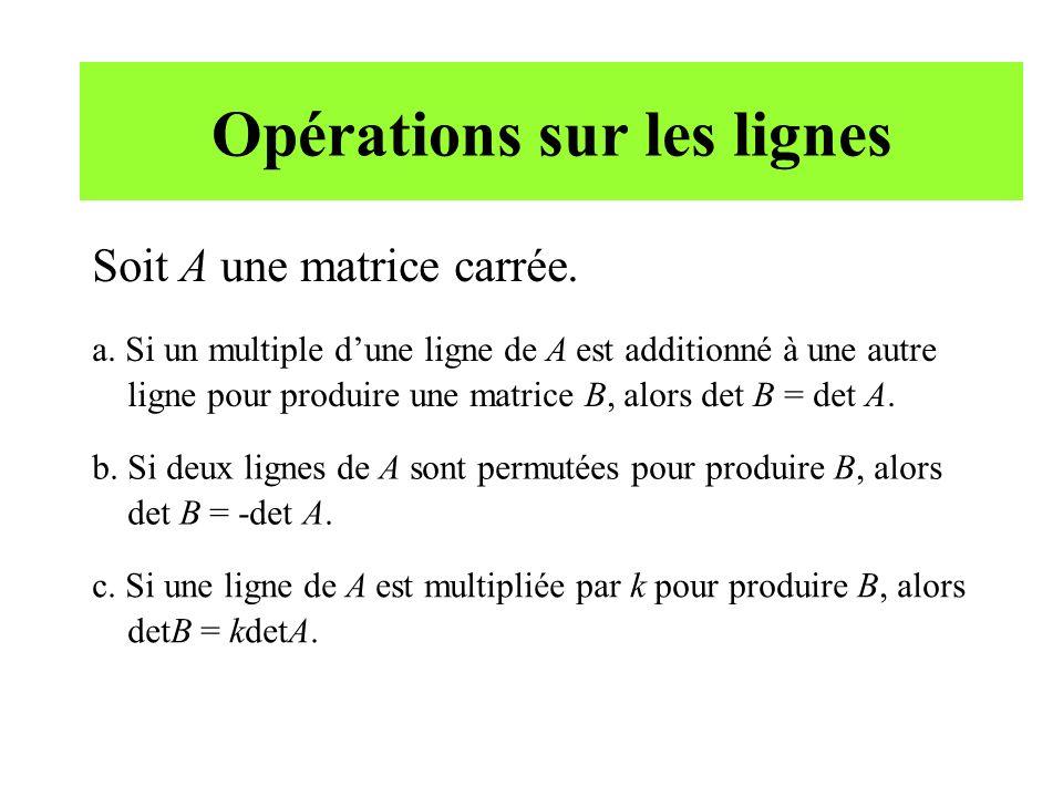 Opérations sur les lignes Soit A une matrice carrée. a. Si un multiple dune ligne de A est additionné à une autre ligne pour produire une matrice B, a