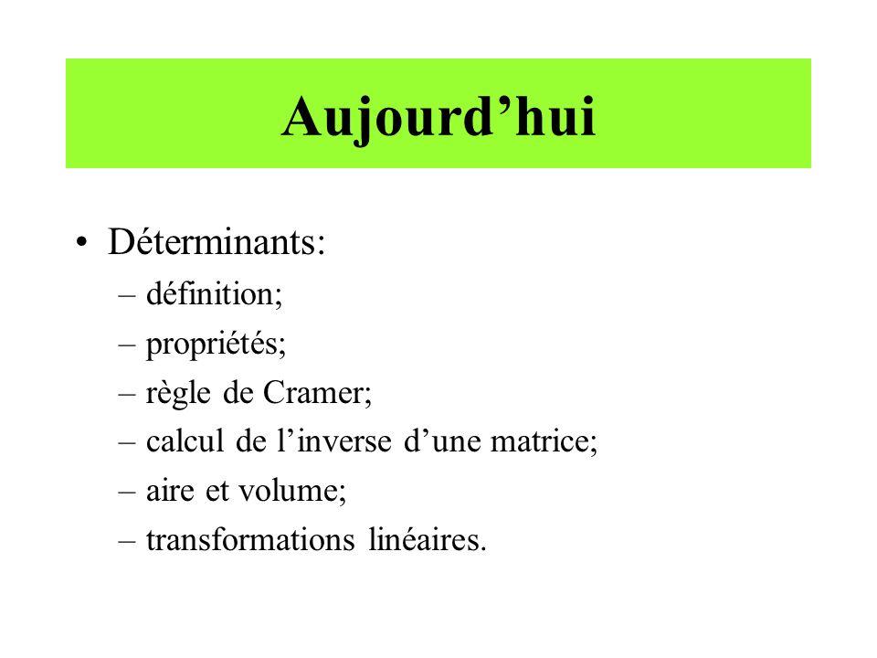 Aujourdhui Déterminants: –définition; –propriétés; –règle de Cramer; –calcul de linverse dune matrice; –aire et volume; –transformations linéaires.