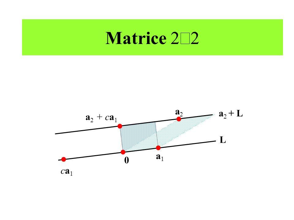 Matrice 2 2 ca1ca1 a 2 + ca 1 a2a2 a 2 + L L a1a1 0