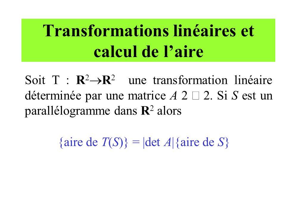 Transformations linéaires et calcul de laire Soit T : R 2 R 2 une transformation linéaire déterminée par une matrice A 2 2. Si S est un parallélogramm