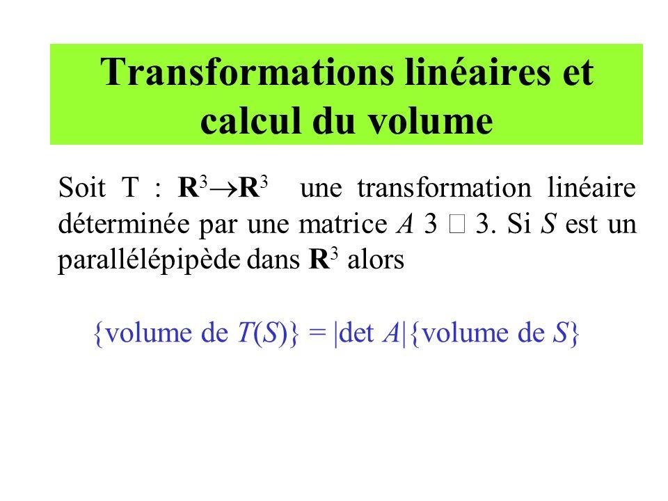 Transformations linéaires et calcul du volume Soit T : R 3 R 3 une transformation linéaire déterminée par une matrice A 3 3. Si S est un parallélépipè