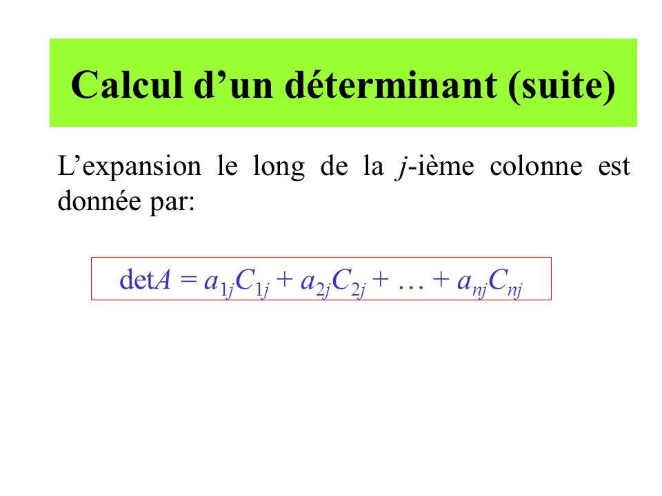 Matrice adjointe La matrice adjointe de la matrice A est la transposée de la matrice des cofacteurs.