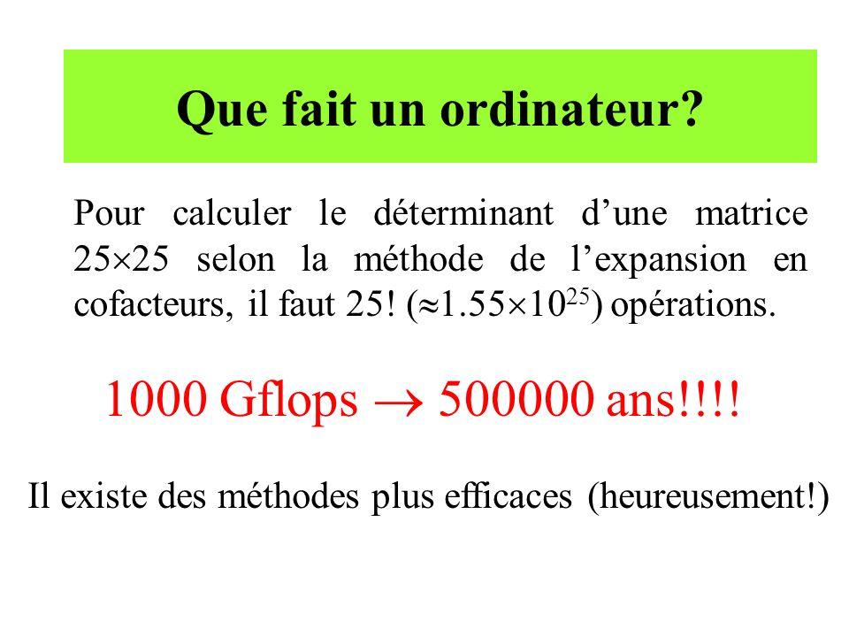 Que fait un ordinateur? Pour calculer le déterminant dune matrice 25 25 selon la méthode de lexpansion en cofacteurs, il faut 25! ( 1.55 10 25 ) opéra