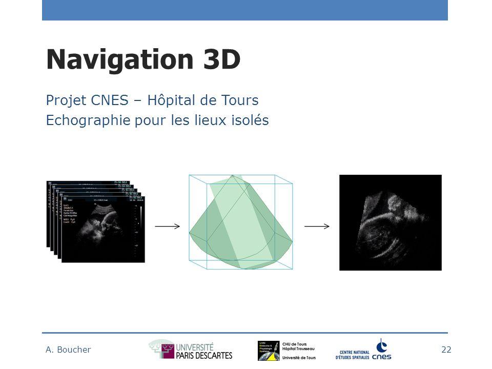 Navigation 3D Projet CNES – Hôpital de Tours Echographie pour les lieux isolés A. Boucher 22