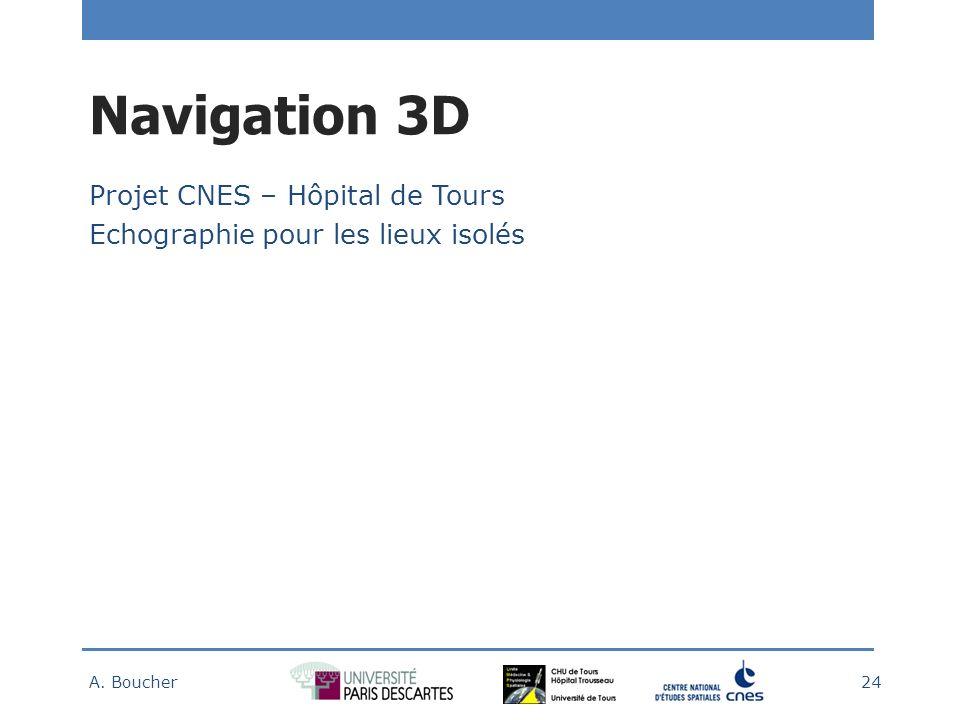 Navigation 3D Projet CNES – Hôpital de Tours Echographie pour les lieux isolés A. Boucher 24