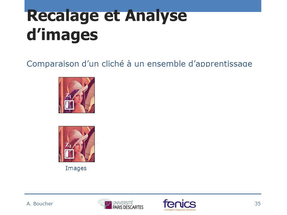 Comparaison dun cliché à un ensemble dapprentissage Comparaison ImagesDistribution des motifs Carte des différences Recalage et Analyse dimages A.
