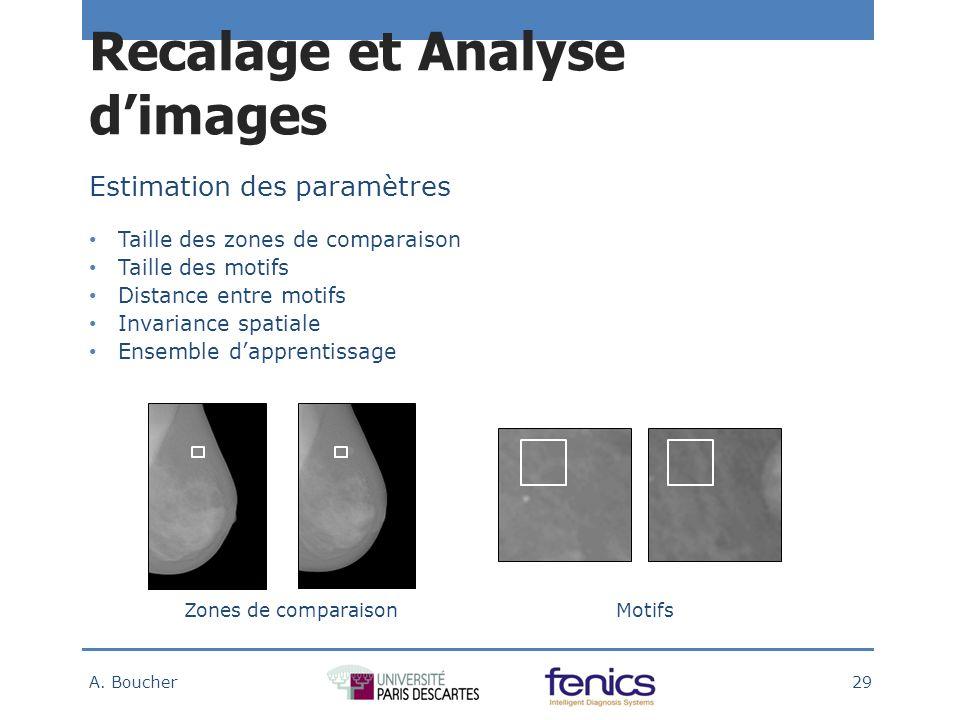 Estimation des paramètres Taille des zones de comparaison Taille des motifs Distance entre motifs Invariance spatiale Ensemble dapprentissage Zones de comparaisonMotifs Recalage et Analyse dimages A.