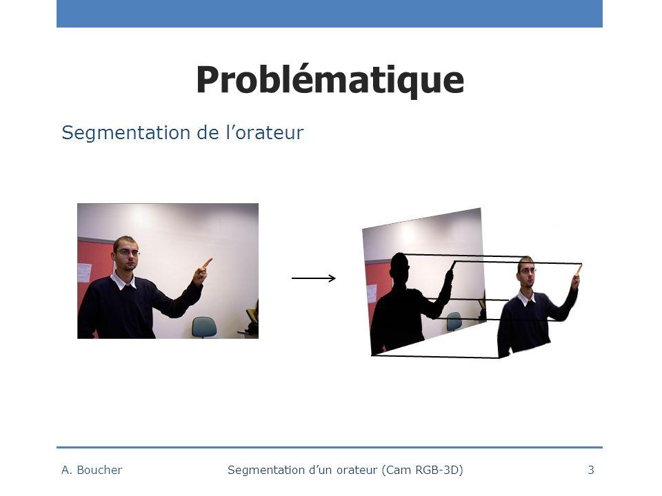 Problématique A. Boucher Segmentation dun orateur (Cam RGB-3D) 3 Segmentation de lorateur