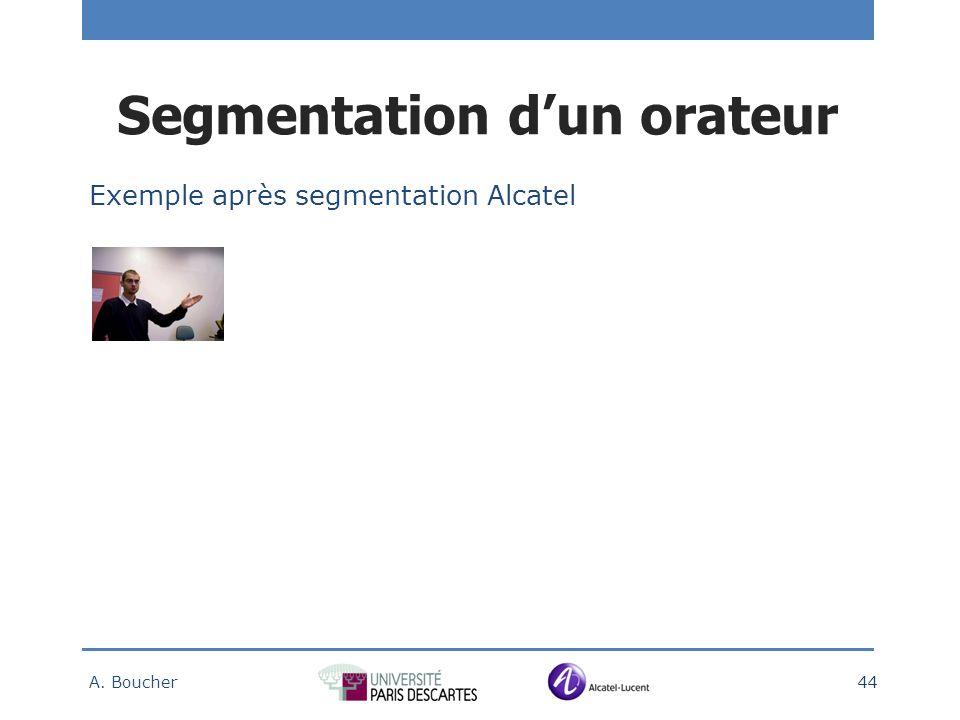 Exemple après segmentation Alcatel A. Boucher 44 Segmentation dun orateur