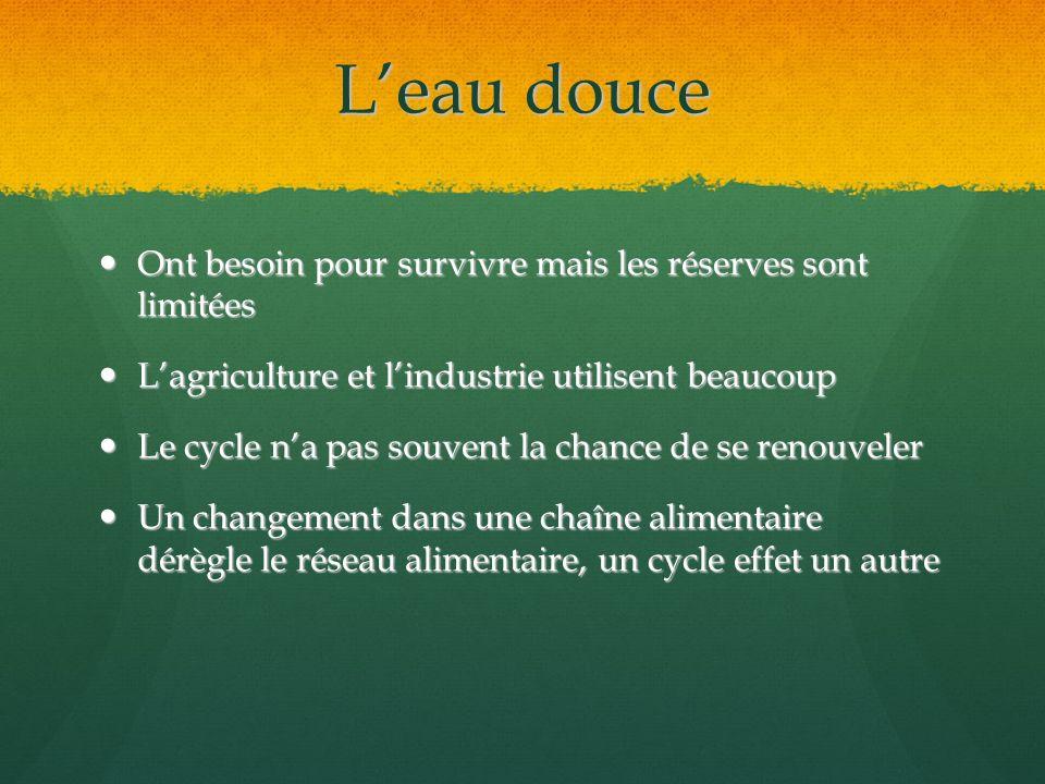 Leau douce Ont besoin pour survivre mais les réserves sont limitées Ont besoin pour survivre mais les réserves sont limitées Lagriculture et lindustri