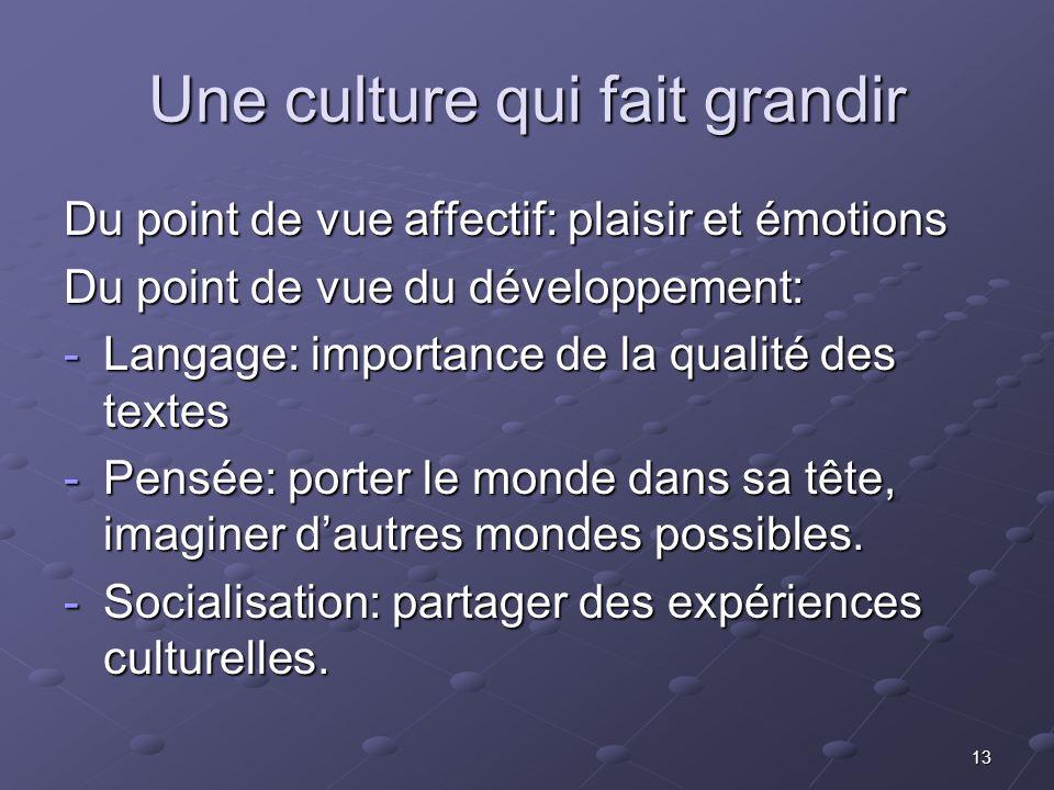 13 Une culture qui fait grandir Du point de vue affectif: plaisir et émotions Du point de vue du développement: -Langage: importance de la qualité des