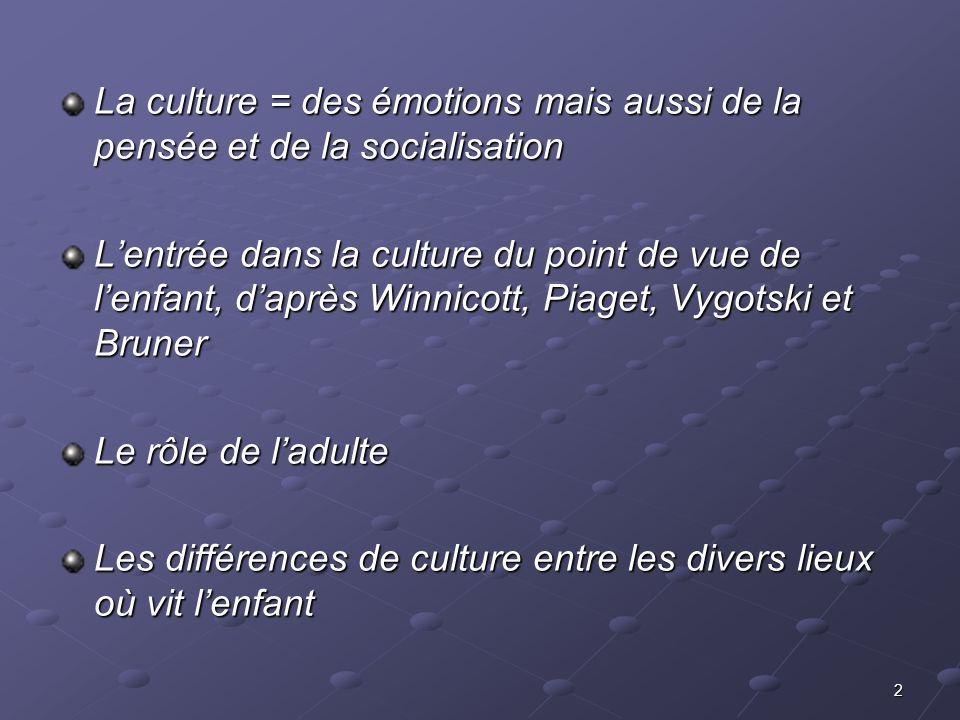 2 La culture = des émotions mais aussi de la pensée et de la socialisation Lentrée dans la culture du point de vue de lenfant, daprès Winnicott, Piage