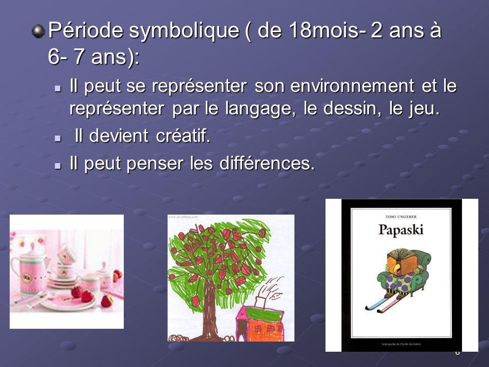 6 Période symbolique ( de 18mois- 2 ans à 6- 7 ans): Il peut se représenter son environnement et le représenter par le langage, le dessin, le jeu. Il
