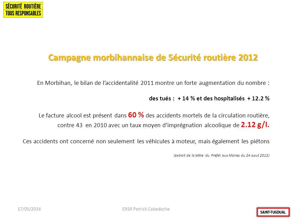 Campagne morbihannaise de Sécurité routière 2012 17/05/2014ERSR Patrick Cabedoche En Morbihan, le bilan de laccidentalité 2011 montre un forte augment