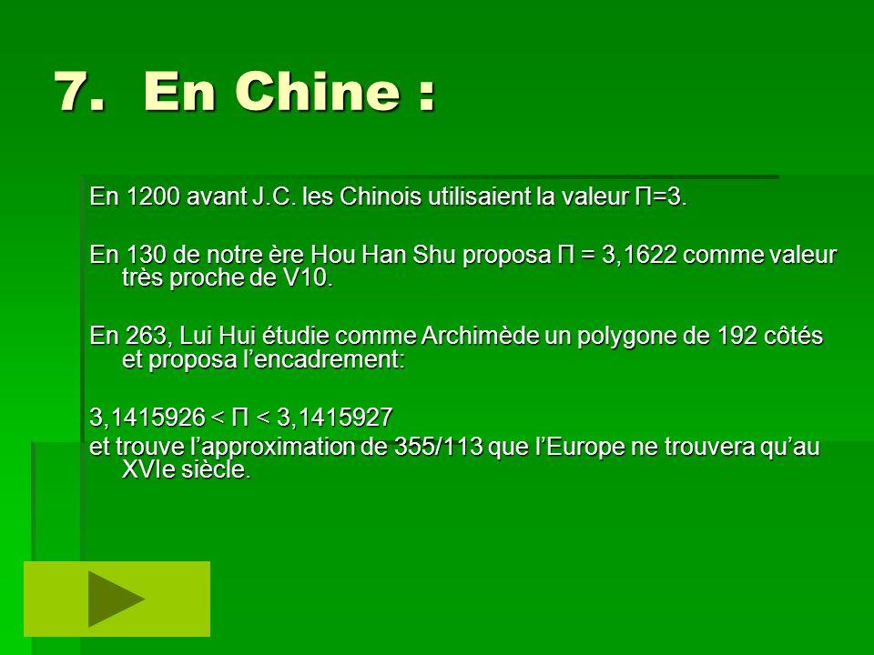 7. En Chine : En 1200 avant J.C. les Chinois utilisaient la valeur Π=3. En 130 de notre ère Hou Han Shu proposa Π = 3,1622 comme valeur très proche de