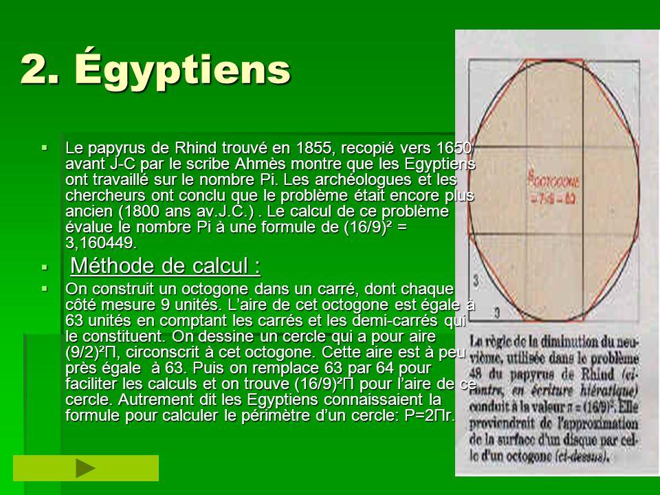 2. Égyptiens 2. Égyptiens Le papyrus de Rhind trouvé en 1855, recopié vers 1650 avant J-C par le scribe Ahmès montre que les Egyptiens ont travaillé s