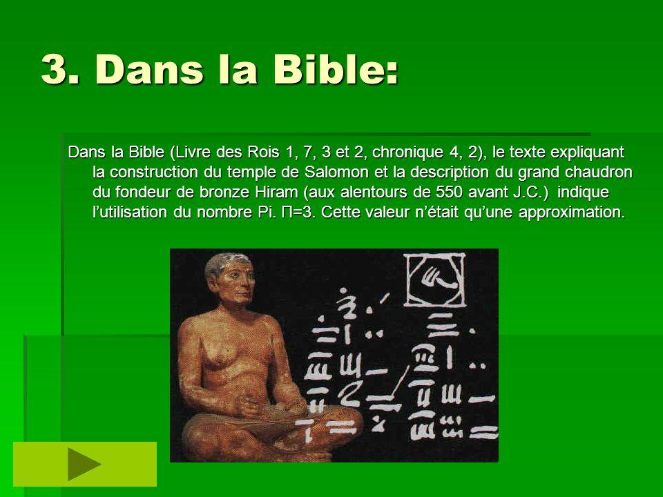 3. Dans la Bible: Dans la Bible (Livre des Rois 1, 7, 3 et 2, chronique 4, 2), le texte expliquant la construction du temple de Salomon et la descript