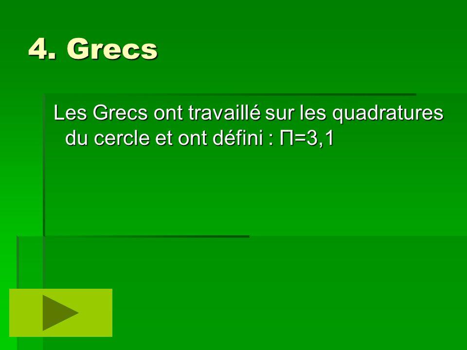 4. Grecs Les Grecs ont travaillé sur les quadratures du cercle et ont défini : Π=3,1 Les Grecs ont travaillé sur les quadratures du cercle et ont défi