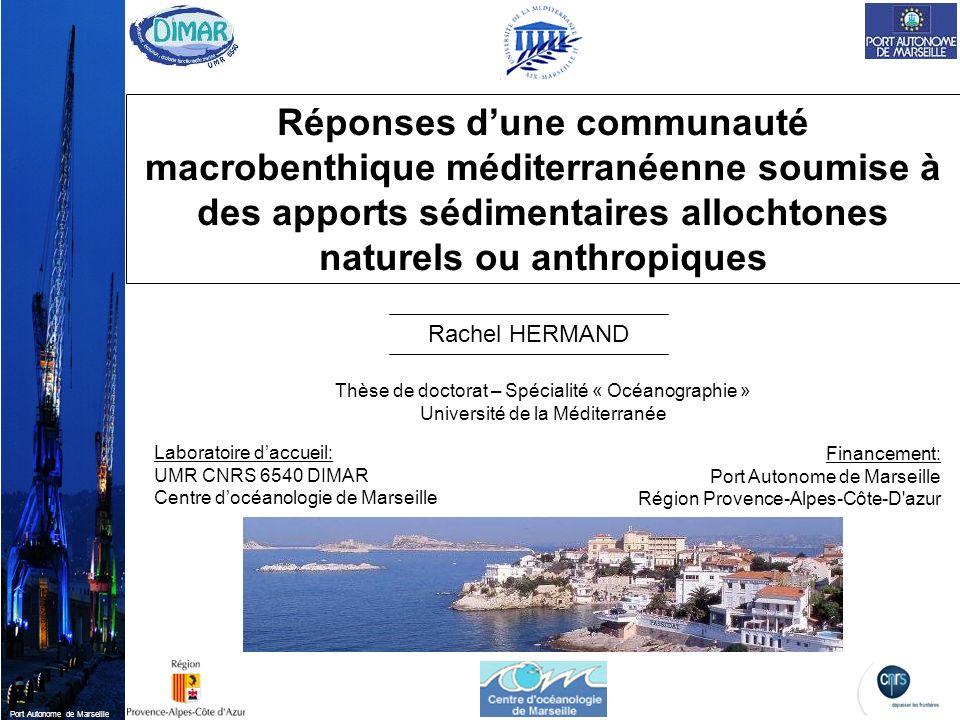 Port Autonome de Marseille Laboratoire daccueil: UMR CNRS 6540 DIMAR Centre docéanologie de Marseille Financement: Port Autonome de Marseille Région P