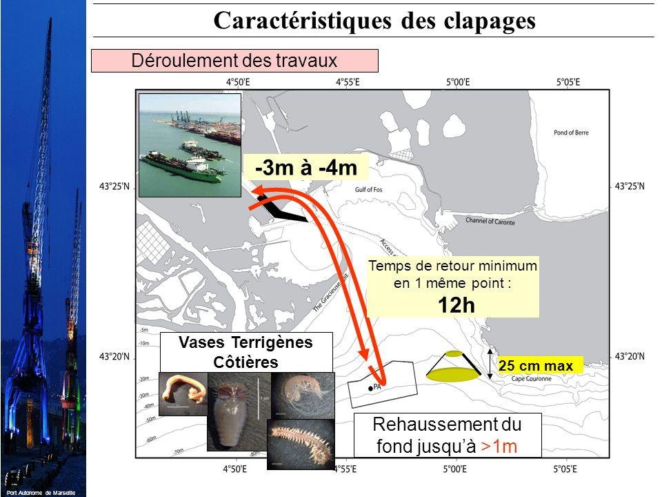 Port Autonome de Marseille Temps de retour minimum en 1 même point : 12h 25 cm max Vases Terrigènes Côtières -3m à -4m Caractéristiques des clapages D