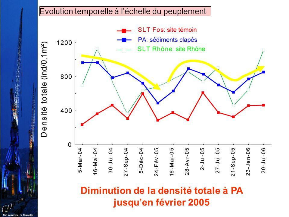 Port Autonome de Marseille Diminution de la densité totale à PA jusquen février 2005 Evolution temporelle à léchelle du peuplement