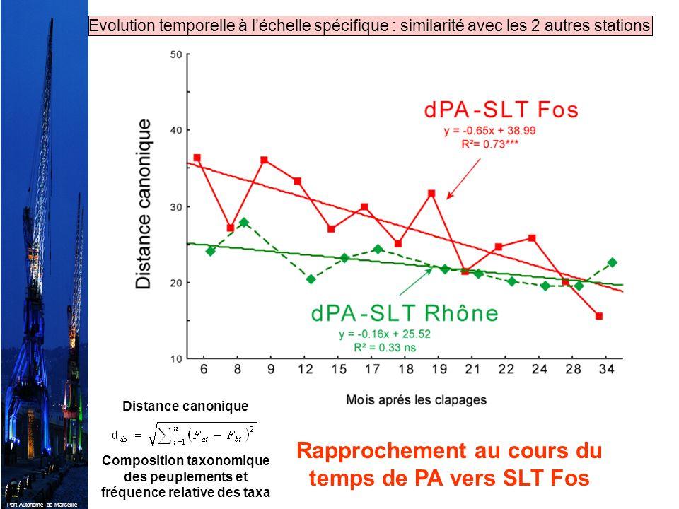 Port Autonome de Marseille Rapprochement au cours du temps de PA vers SLT Fos Evolution temporelle à léchelle spécifique : similarité avec les 2 autre