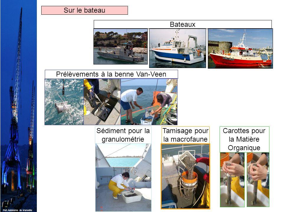 Port Autonome de Marseille BateauxPrélèvements à la benne Van-VeenSédiment pour la granulométrie Tamisage pour la macrofaune Carottes pour la Matière