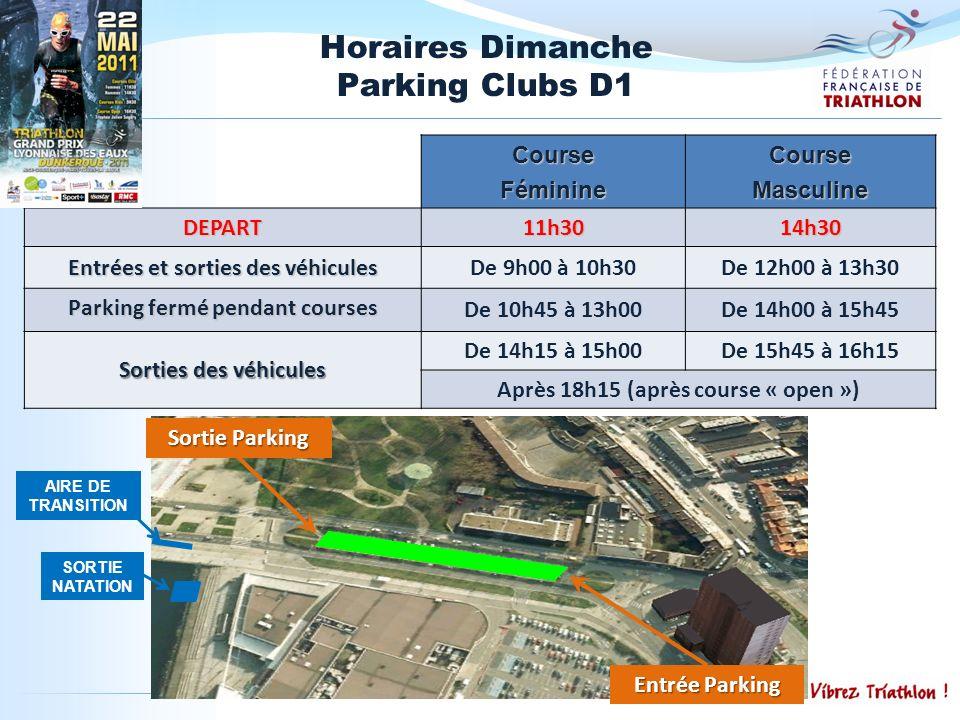Horaires Dimanche Parking Clubs D1 CourseFéminineCourseMasculine DEPART 11h3014h30 Entrées et sorties des véhicules De 9h00 à 10h30De 12h00 à 13h30 Pa