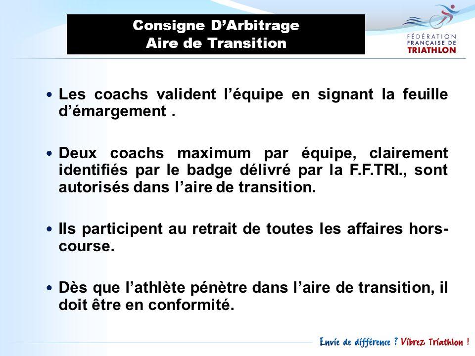 Les coachs valident léquipe en signant la feuille démargement. Deux coachs maximum par équipe, clairement identifiés par le badge délivré par la F.F.T