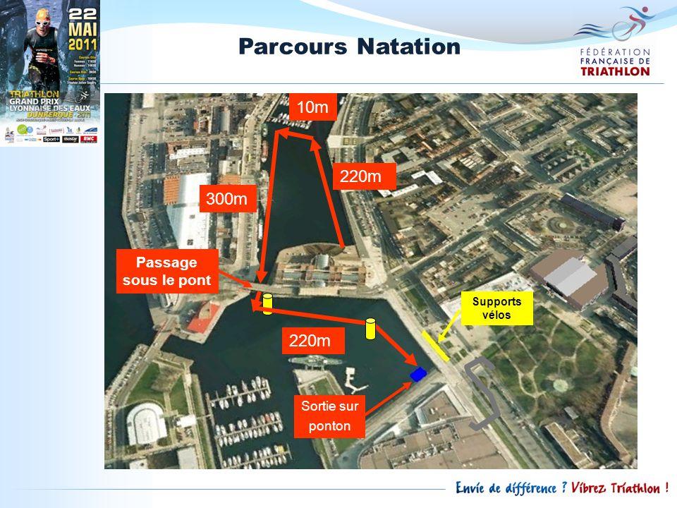 Parcours Natation 220m 10m Passage sous le pont 300m 220m Sortie sur ponton Supports vélos