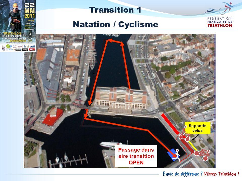 Transition 1 Natation / Cyclisme ?? Supports vélos Passage dans aire transition OPEN