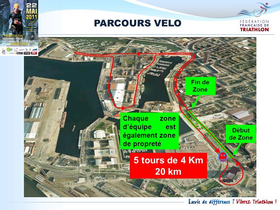PARCOURS VELO Fin de Zone Début de Zone Chaque zone déquipe est également zone de propreté 5 tours de 4 Km 20 km