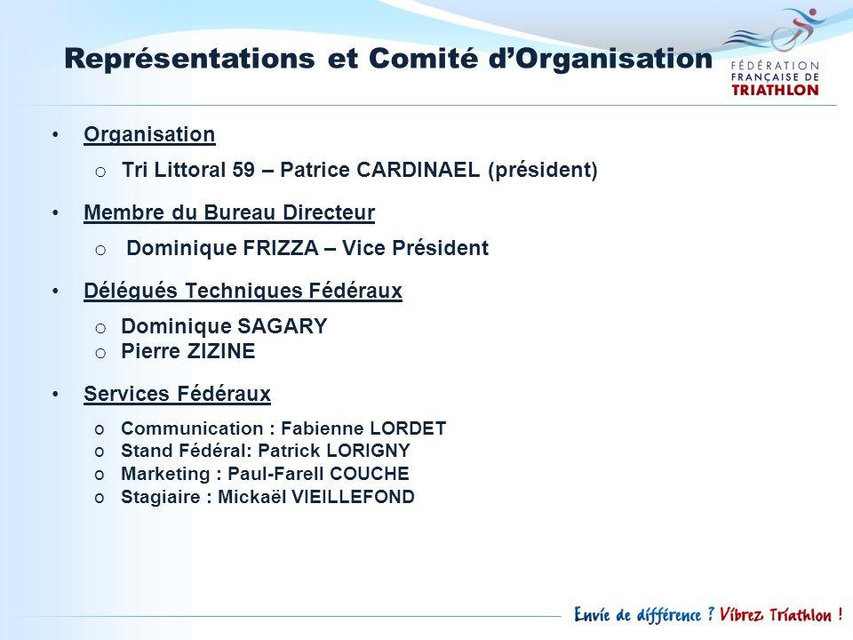 Représentations et Comité dOrganisation Organisation o Tri Littoral 59 – Patrice CARDINAEL (président) Membre du Bureau Directeur o Dominique FRIZZA –