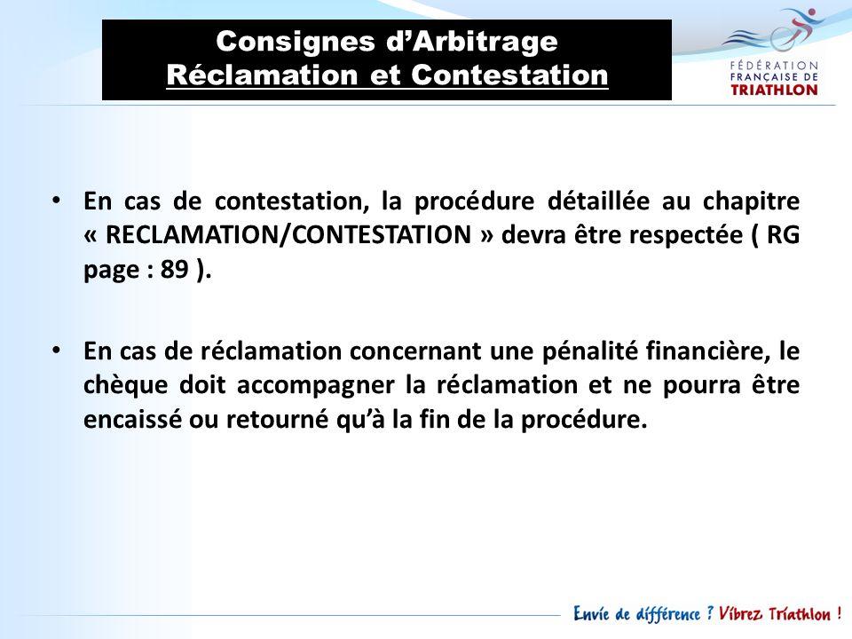 Consignes dArbitrage Réclamation et Contestation En cas de contestation, la procédure détaillée au chapitre « RECLAMATION/CONTESTATION » devra être re