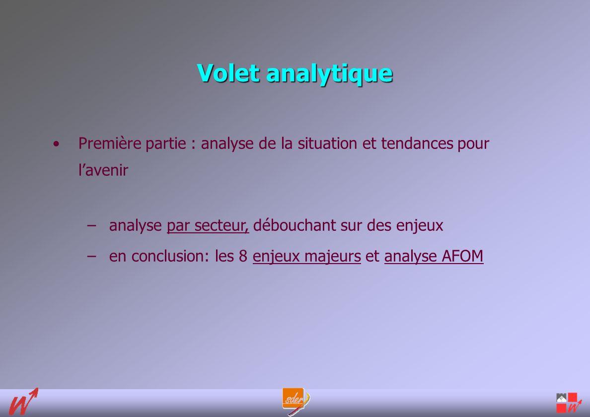 Volet analytique Première partie : analyse de la situation et tendances pour lavenir –analyse par secteur, débouchant sur des enjeux –en conclusion: les 8 enjeux majeurs et analyse AFOM