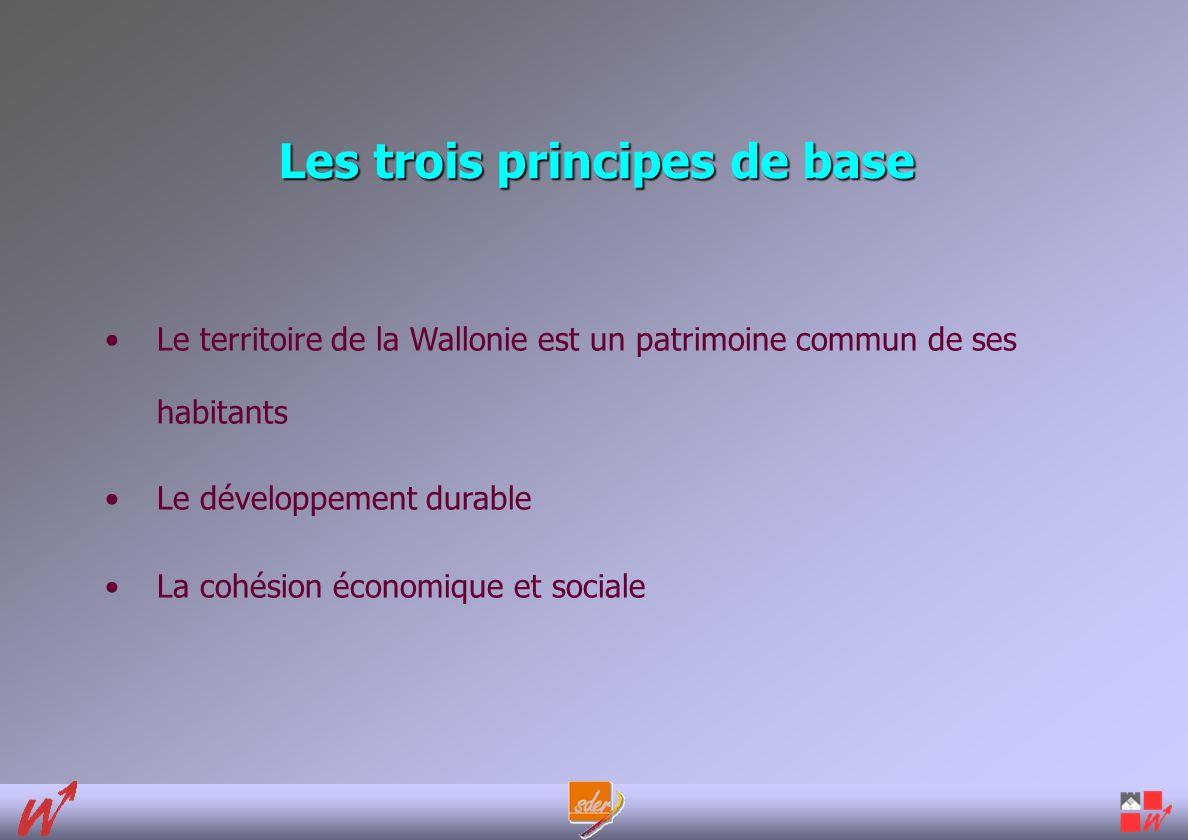 Les trois principes de base Le territoire de la Wallonie est un patrimoine commun de ses habitants Le développement durable La cohésion économique et sociale