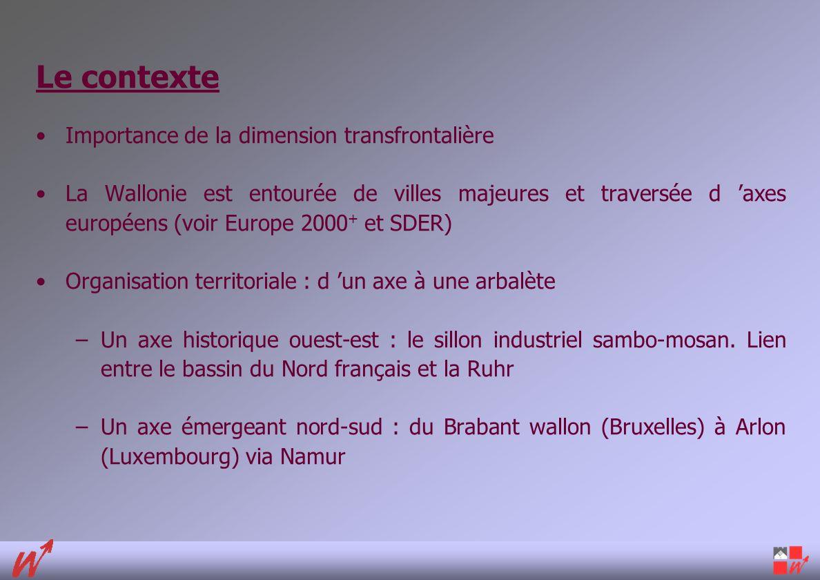 Le contexte Importance de la dimension transfrontalière La Wallonie est entourée de villes majeures et traversée d axes européens (voir Europe 2000 + et SDER) Organisation territoriale : d un axe à une arbalète –Un axe historique ouest-est : le sillon industriel sambo-mosan.