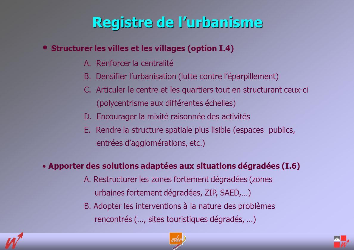Registre de lurbanisme Structurer les villes et les villages (option I.4) A.