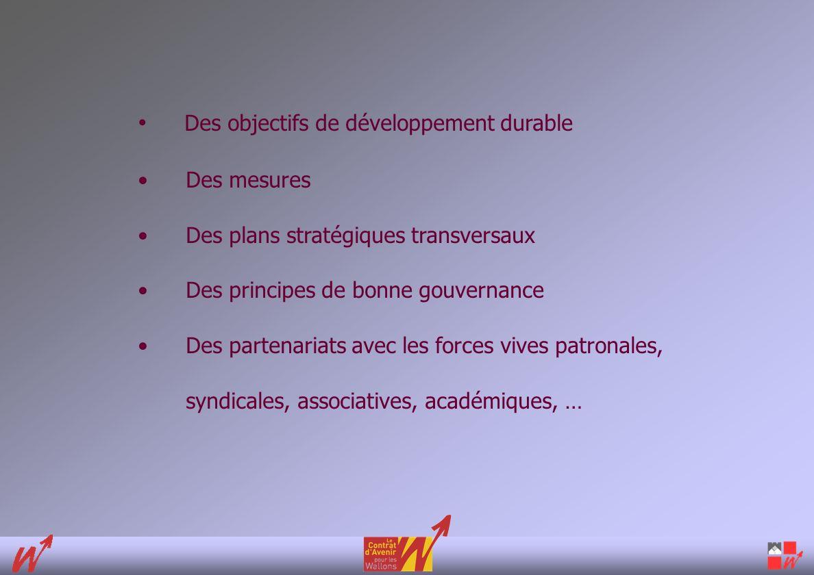 Des objectifs de développement durable Des mesures Des plans stratégiques transversaux Des principes de bonne gouvernance Des partenariats avec les forces vives patronales, syndicales, associatives, académiques, …