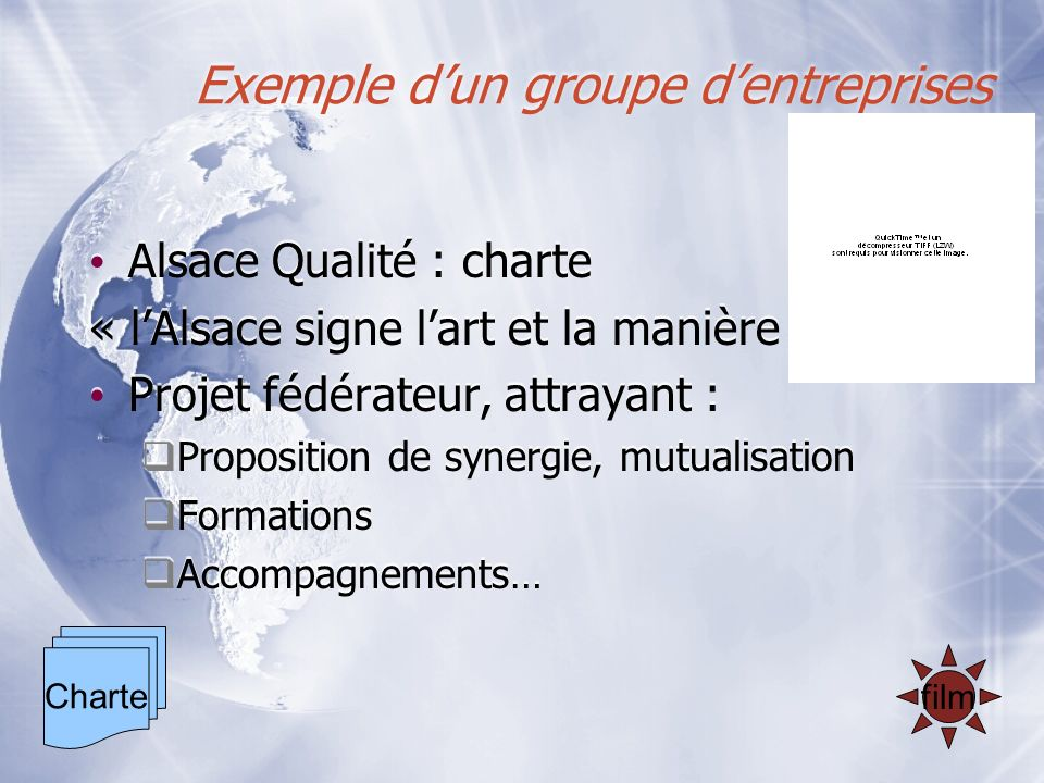 Exemple dun groupe dentreprises Alsace Qualité : charte « lAlsace signe lart et la manière » Projet fédérateur, attrayant : Proposition de synergie, m