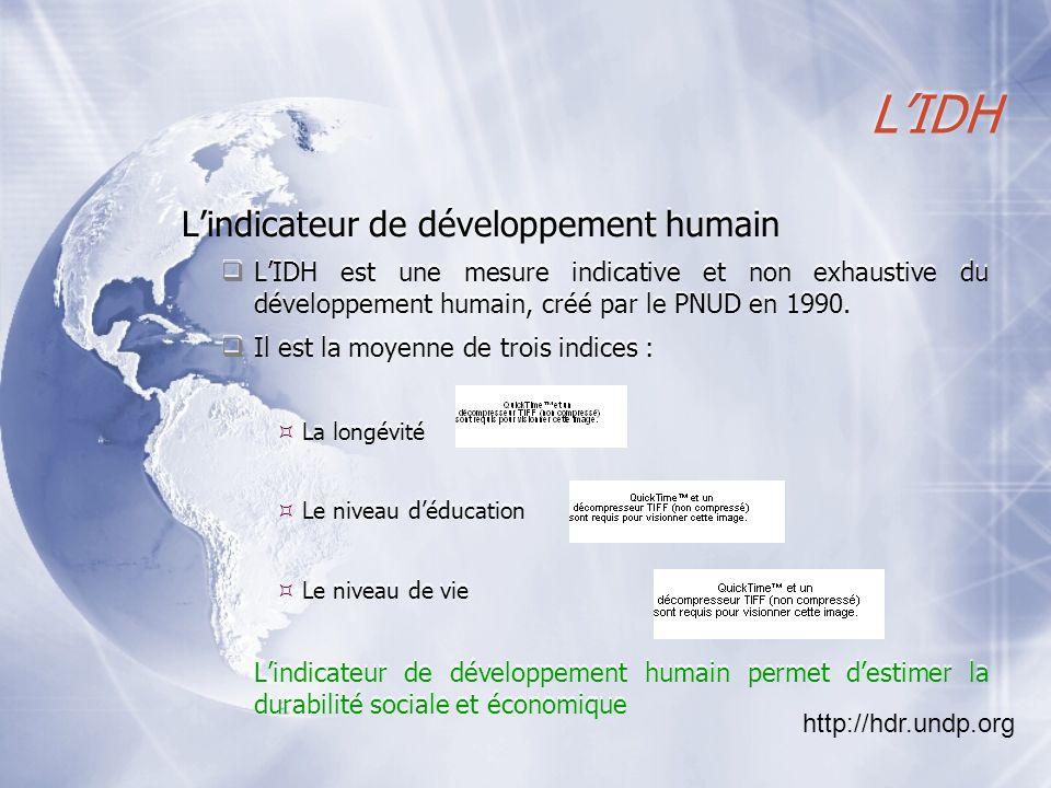 LIDH Lindicateur de développement humain LIDH est une mesure indicative et non exhaustive du développement humain, créé par le PNUD en 1990. Il est la