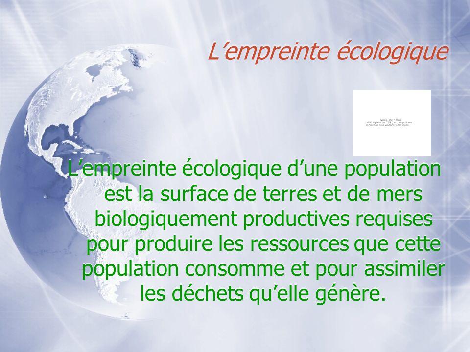 Lempreinte écologique Lempreinte écologique dune population est la surface de terres et de mers biologiquement productives requises pour produire les