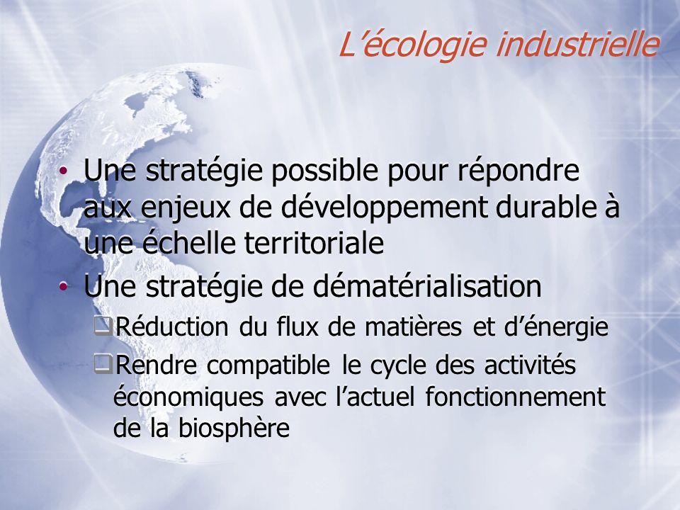 Lécologie industrielle Une stratégie possible pour répondre aux enjeux de développement durable à une échelle territoriale Une stratégie de dématérial