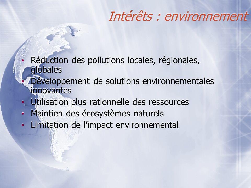 Intérêts : environnement Réduction des pollutions locales, régionales, globales Développement de solutions environnementales innovantes Utilisation pl