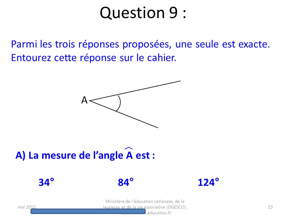 mai 2012 Ministère de l'éducation nationale, de la jeunesse et de la vie associative (DGESCO). http://eduscol.education.fr 12 Question 8 : Voici un pl