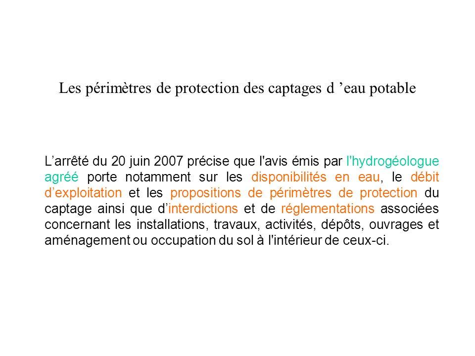 Les périmètres de protection des captages d eau potable Larrêté du 20 juin 2007 précise que l'avis émis par l'hydrogéologue agréé porte notamment sur