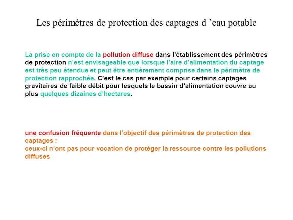 Les périmètres de protection des captages d eau potable La prise en compte de la pollution diffuse dans létablissement des périmètres de protection ne