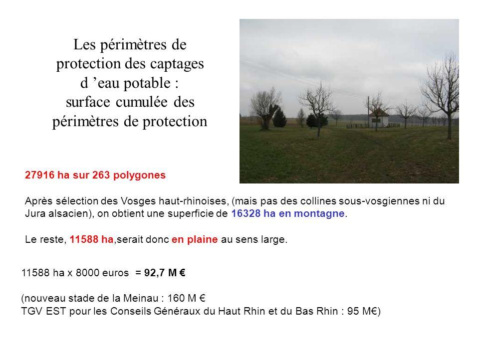 Les périmètres de protection des captages d eau potable : surface cumulée des périmètres de protection 27916 ha sur 263 polygones Après sélection des
