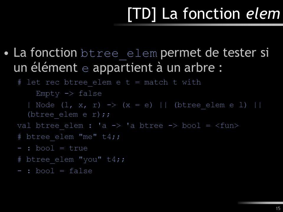 15 [TD] La fonction elem La fonction btree_elem permet de tester si un élément e appartient à un arbre : # let rec btree_elem e t = match t with Empty